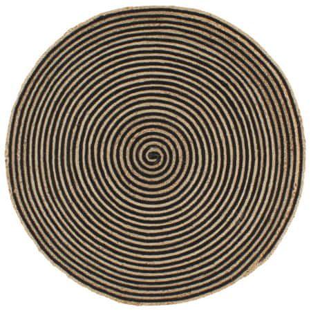 Dywanik ręcznie wykonany z juty, spiralny wzór, czarny, 150 cm