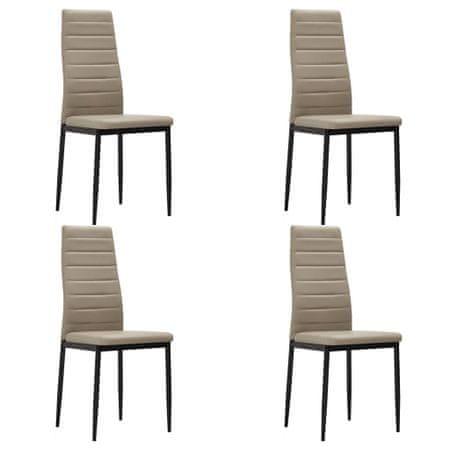 shumee Jedilni stoli 4 kosi kapučino umetno usnje