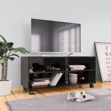 shumee Szafka pod TV z kółkami, wysoki połysk, czarna, 90x35x35 cm