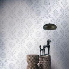 Netkané tapetové rolky 4 ks, biele 0,53x10 m, ornamenty