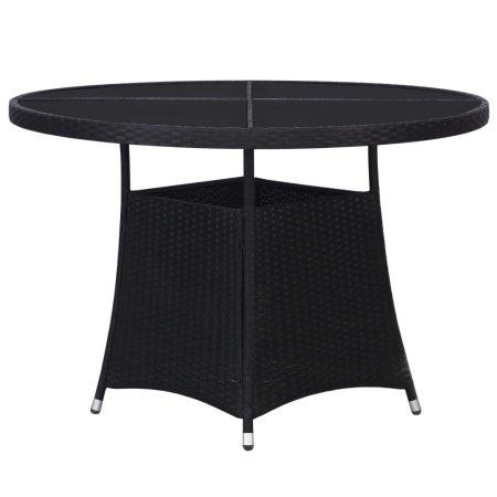 shumee Vrtna miza iz poli ratana 110x74 cm črna
