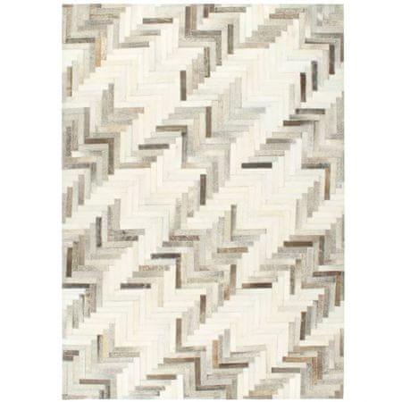 shumee Dywan, skóra z włosiem, patchwork, 160x230 cm, szary/biały