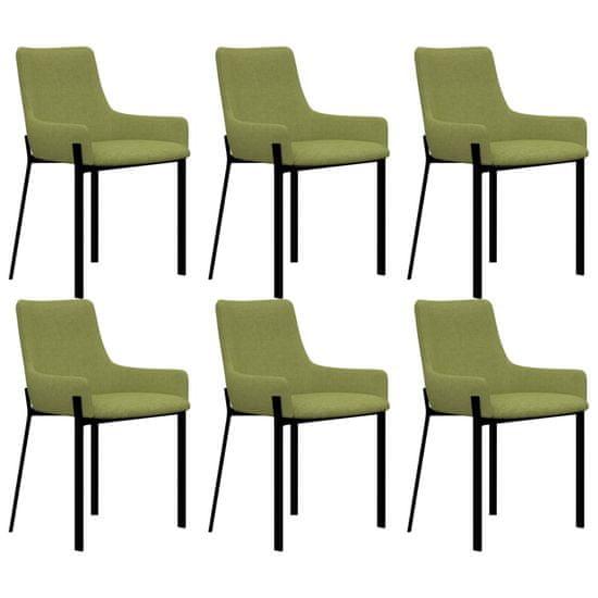 Jedálenské stoličky 6 ks, zelené, látka