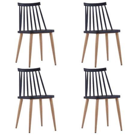 slomart Jedilni stoli 4 kosi črna plastika
