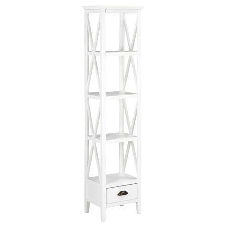 Biblioteczka z 1 szufladą, biała, 40 x 30 x 170 cm, MDF