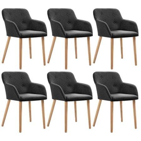 shumee Jedilni stoli 6 kosov temno sivo blago in trdna hrastovina