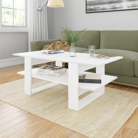 shumee fehér forgácslap dohányzóasztal 110 x 55 x 42 cm