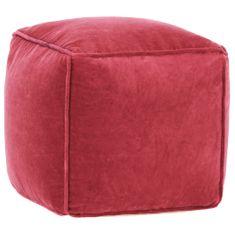 Puf, aksamit bawełniany, 40 x 40 x 40 cm, czerwony