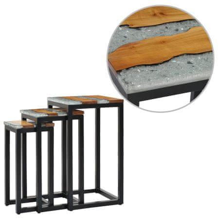 shumee 3 db tömör tölgyfa és műgyanta egymásba tolható asztal