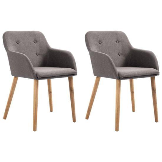 shumee Jídelní židle 2 ks taupe textil a masivní dubové dřevo