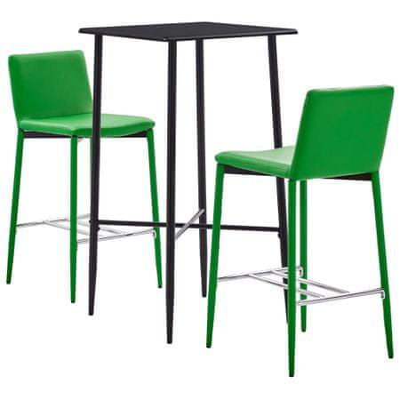 shumee 3-częściowy zestaw mebli barowych, sztuczna skóra, zielony