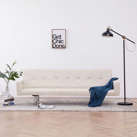shumee krémszínű poliészter kárpitozású karfás kanapéágy