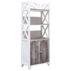 shumee Skrinka do kúpeľne bielo-hnedá 46x24x116 cm drevo paulovnie