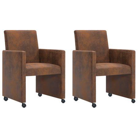 slomart Jedilni stoli 2 kosa rjavo umetno semiš usnje