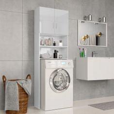 shumee Skrinka na práčku lesklá biela 64x25,5x190 cm drevotrieska