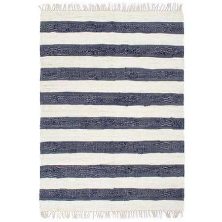 Ręcznie tkany dywan Chindi, bawełna, 120x170cm, biało-niebieski