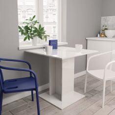 shumee Jídelní stůl bílý s vysokým leskem 80 x 80 x 75 cm dřevotříska