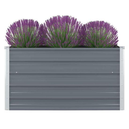 Vyvýšený záhon 100x100x45 cm, pozinkovaná oceľ, sivý