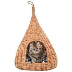 Domek dla kota z poduszką, 40x60 cm, naturalna wiklina, tipi