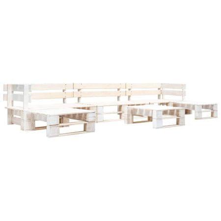 shumee Vrtna sedežna garnitura iz palet 6-delna lesena bela