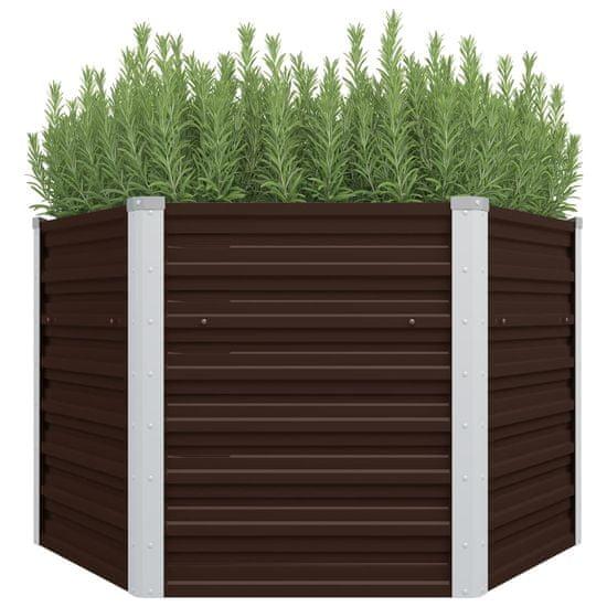 Vyvýšený záhradný záhon, hnedý 129x129x77 cm, pozinkovaná oceľ