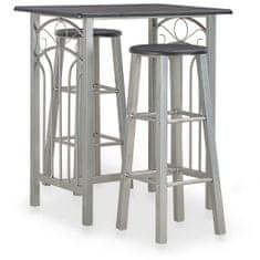 shumee 3dílný barový set dřevo a ocel černý