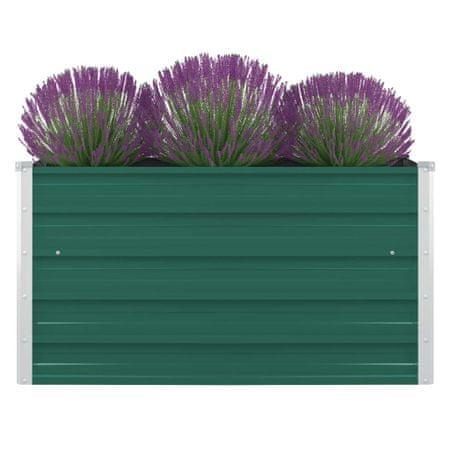 shumee Dvignjeno cvetlično korito 100x100x45 cm pocinkano jeklo zeleno