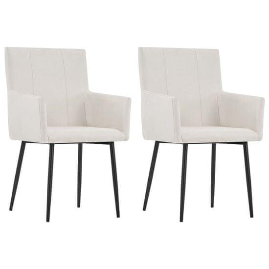 shumee Jídelní židle s područkami 2 ks krémové textil