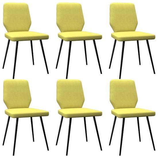 Jedálenské stoličky 6 ks, limetkovo žlté, látka