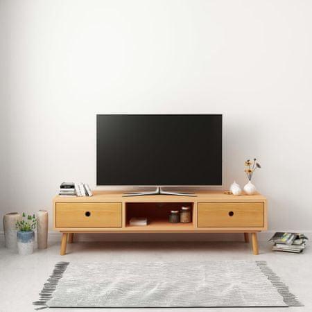 shumee tömör fenyőfa TV-szekrény 120 x 35 x 35 cm