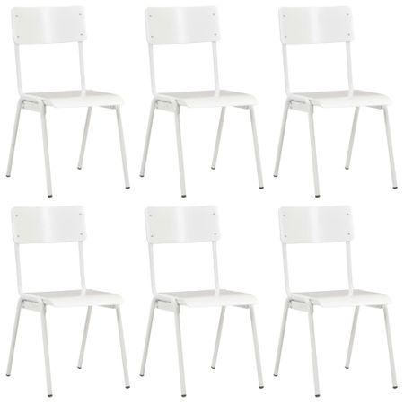 shumee Jedilni stoli 6 kosov beli vezani les