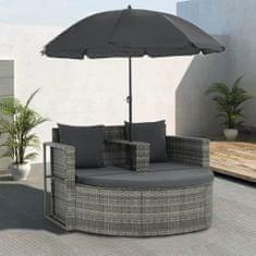 2-miestna záhradná pohovka+podložky a slnečník, sivá, polyratan