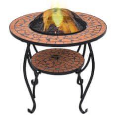 Petromila Mozaikový stolek s ohništěm terakotový 68 cm keramika