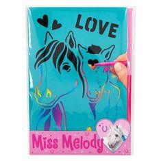 Miss Melody Zarysuj zdjęcia panny Melody, Z podstawą tęczową, w tym skrobaczką