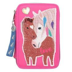 Miss Melody Peračník s výbavou , Dva kone, trojposchodový, meniaci flitrový obrázok, ružový