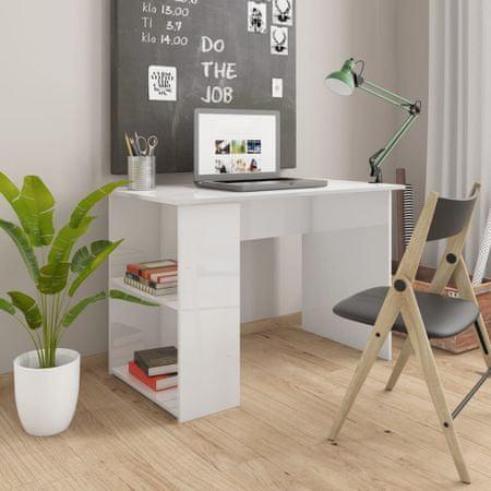 shumee Pisalna miza visok sijaj bela 110x60x73 cm iverna plošča