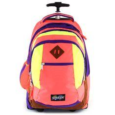 Smash Školní batoh trolley , neonově oranžová lemovaná fialovou