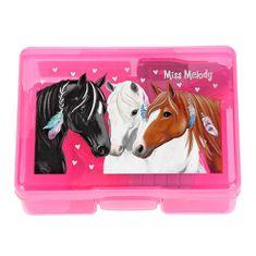 Miss Melody Mini zestaw biurkowy Miss Melody ASST, Różowe pudełko - zakreślacz, karteczki, zszywacz, zszywki, taśma klejąca