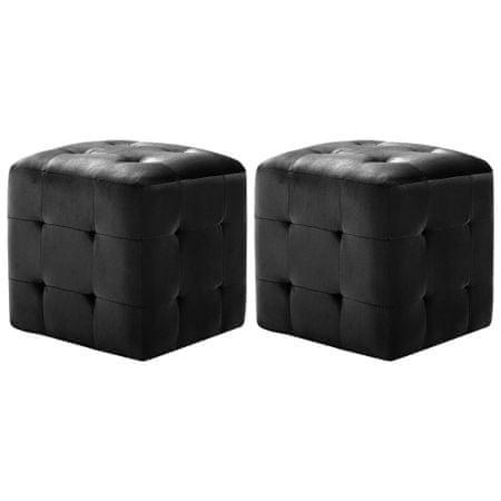 shumee 2 db fekete bársony éjjeliszekrény 30 x 30 x 30 cm