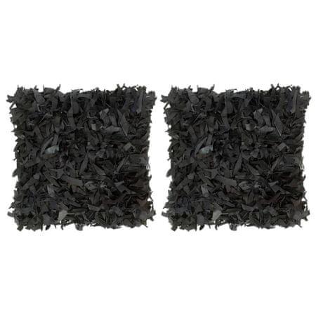 shumee Blazine 2 kosa kosmate črne 45x45 cm usnje in bombaž