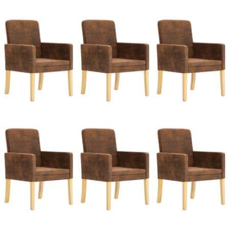 shumee Jedilni stoli 6 kosov rjavo umetno semiš usnje