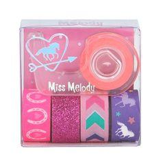 Miss Melody Dekoracyjne taśmy klejące Miss Melody ASST, 1x uchwyt, 5x taśma - różowy