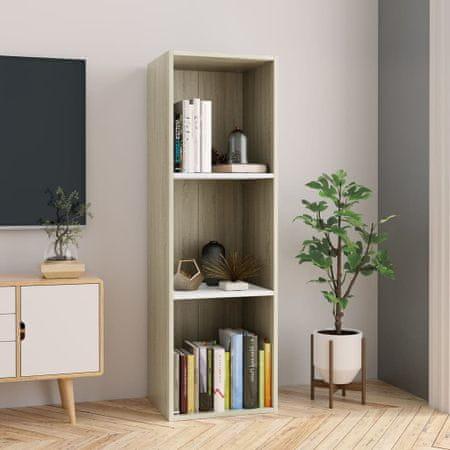 Regał na książki/szafka TV, biały i dąb sonoma, 36x30x114 cm