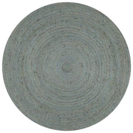 Ręcznie wykonany dywan z juty, okrągły, 120 cm, oliwkowozielony