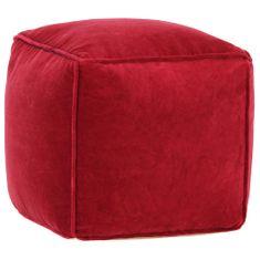 Puf, aksamit bawełniany, 40 x 40 x 40 cm, rubinowy