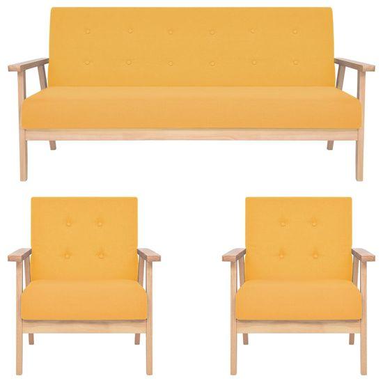 Vidaxl 3dílná sedací souprava textilní čalounění žlutá