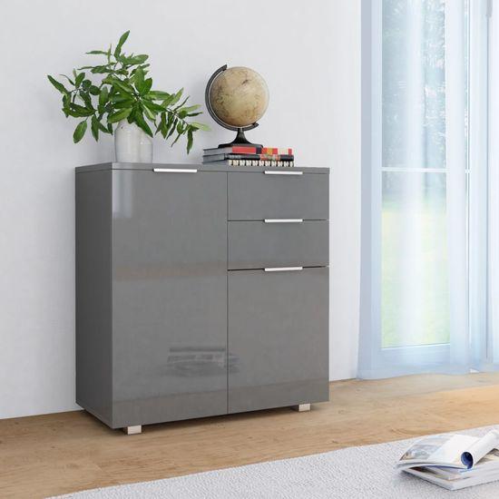 Příborník šedý s vysokým leskem 71 x 35 x 76 cm dřevotříska