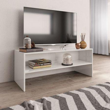 shumee TV omarica visok sijaj bela 100x40x40 cm iverna plošča