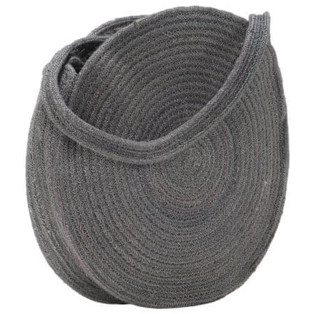 shumee Okrągła torebka na ramię, ciemnoszara, ręcznie robiona, jutowa