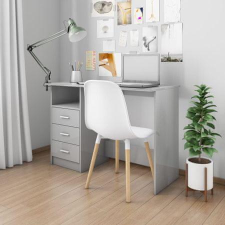shumee magasfényű szürke forgácslap íróasztal fiókokkal 110x50x76 cm